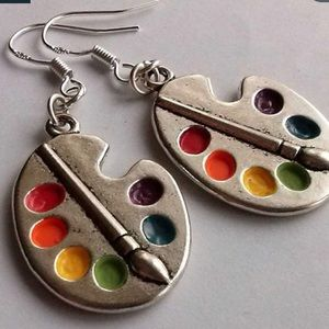 You Are an Artist! Palette & Paint Brush Earrings